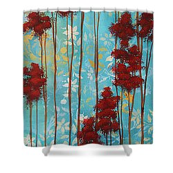 Stunning Abstract Landscape Elegant Trees Floating Dreams I By Megan Duncanson Shower Curtain by Megan Duncanson