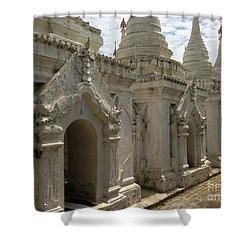 Shower Curtain featuring the photograph Stupas With Buddhist Inscription Slabs Sandamuni Pagoda Mandalay Burma by Ralph A  Ledergerber-Photography