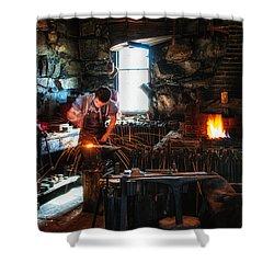 Sturbridge Village Blacksmith Shower Curtain by Scott Thorp