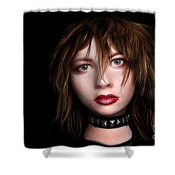 Styrofoam Wig Head With Face Shower Curtain by Sharon Dominick