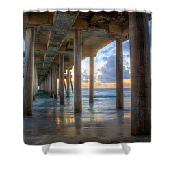 Subtle Pier Sunset Shower Curtain
