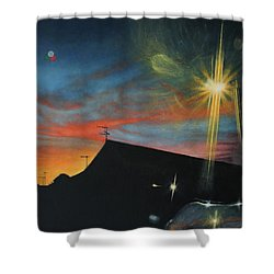 Suburban Sunset Oil On Canvas Shower Curtain