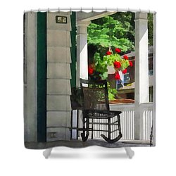 Suburbs - Porch With Rocking Chair And Geraniums Shower Curtain by Susan Savad