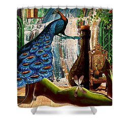 Shower Curtain featuring the painting Suck My Peacock by Ally  White