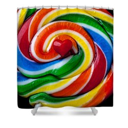 Sucker Heart Shower Curtain by Garry Gay
