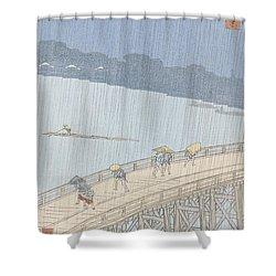 Sudden Shower On Ohashi Bridge At Ataka Shower Curtain by Ando Hiroshige