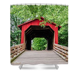 Sugar Creek Covered Bridge Shower Curtain by Sue Smith