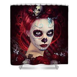Sugar Doll Red Shower Curtain by Shanina Conway