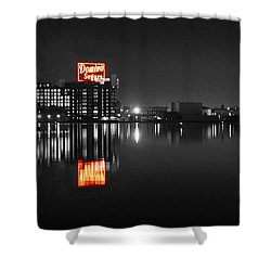 Sugar Glow - Classic Iconic Domino Sugars Neon Sign, Inner Harbor Baltimore, Maryland - Color Splash Shower Curtain