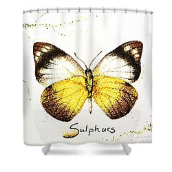 Sulphurs - Butterfly Shower Curtain by Katharina Filus