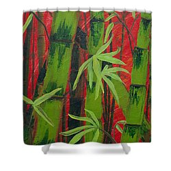 Sultry Bamboo Forest Acrylic Painting Shower Curtain