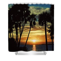 Shower Curtain featuring the photograph Sultry Sunset by Janie Johnson