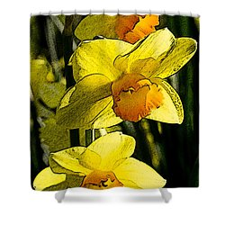 Sumi-e In Yellow Shower Curtain
