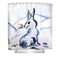 Sumi-e Snow Bunny Shower Curtain