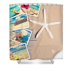 Summer Beach Postcards Shower Curtain by Amanda Elwell