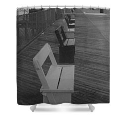 Summer Benches Seaside Heights Nj Bw Shower Curtain by Joann Renner
