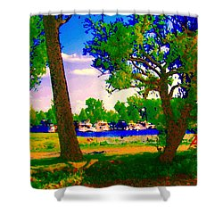 Summer Boats Moored Along Tree Lined Lachine Canal Quebec Landscapes  Montreal Art Carole Spandau Shower Curtain by Carole Spandau