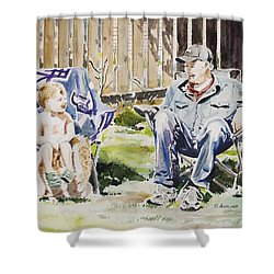 Grandfather  And Grandson Summer Bonding Shower Curtain