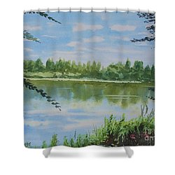 Summer By The River Shower Curtain by Martin Howard