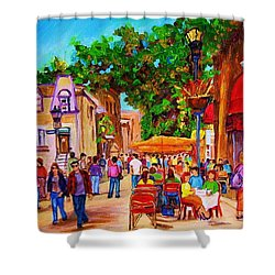 Summer Cafes Shower Curtain by Carole Spandau