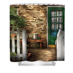 Summer - Cottage - Cottage Side Door Shower Curtain by Mike Savad
