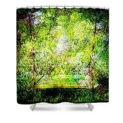 Shower Curtain featuring the mixed media Summer Days Of Yore #1 by Sandy MacGowan