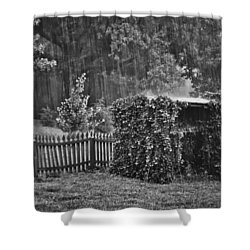 Shower Curtain featuring the photograph Summer Downpour In B/w by Greg Jackson
