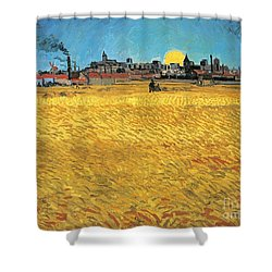 Summer Evening Wheat Field At Sunset Shower Curtain by Vincent van Gogh