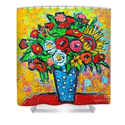 Summer Floral Bouquet - Sunflowers Poppies And Roses Shower Curtain by Ana Maria Edulescu
