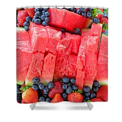 Summer Fruit Shower Curtain by Sami Martin