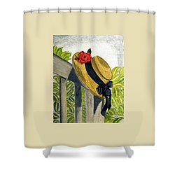 Summer Hat Shower Curtain by Angela Davies