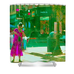 Summer Heatwave Too Hot To Walk Lady Hailing Taxi Cab At Hogg Hardware Rue Sherbrooke Carole Spandau Shower Curtain by Carole Spandau