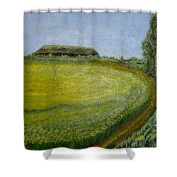 Shower Curtain featuring the painting Summer In Canola Field by Felicia Tica