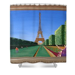 Shower Curtain featuring the painting Summer In Paris by Ron Davidson