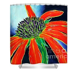 Shower Curtain featuring the painting Summer Kissed Cone Flower by Jackie Carpenter