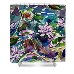 Summer Lily Pond Shower Curtain by Xueling Zou