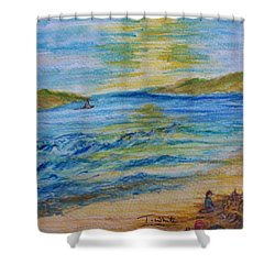 Shower Curtain featuring the painting Summer/ North Wales  by Teresa White