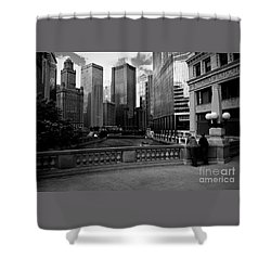 Summer On The Chicago River - Black And White Shower Curtain