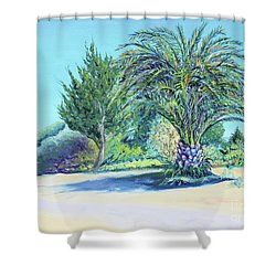 Summer Palm Tree In Garden By The Sea Shower Curtain