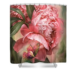 Summer Peony - Melon Shower Curtain by Carol Cavalaris