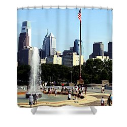 Shower Curtain featuring the photograph Summer Philly Skyline by Christopher Woods