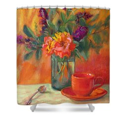 Summer Song- Orange Roses And Butterfly Bush Blooms Shower Curtain