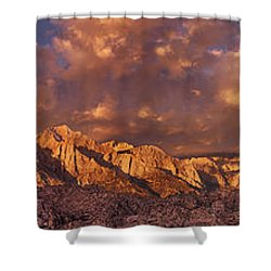 Shower Curtain featuring the photograph Summer Storm Clouds Over The Eastern Sierras California by Dave Welling