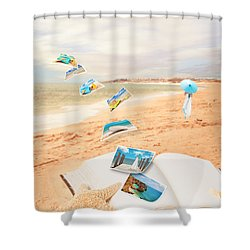 Summer Vacation Postcards Shower Curtain by Amanda Elwell