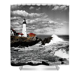 Summer Waves Red Stroke Bw Shower Curtain