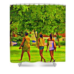 Summertime Walk Through The Beautiful Tree Lined Park Montreal Street Scene Art By Carole Spandau Shower Curtain by Carole Spandau