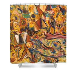Sun- Bathing Among Yellow  Roses Shower Curtain