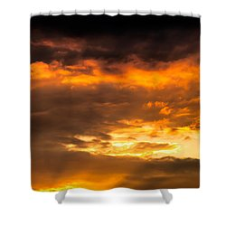 Sun Beams And Clouds Shower Curtain by Optical Playground By MP Ray