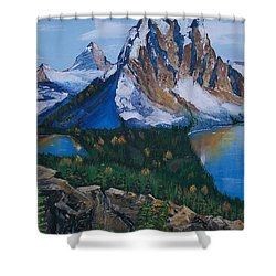 Shower Curtain featuring the painting Sun Burst Peak by Sharon Duguay