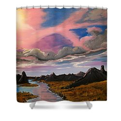 Shower Curtain featuring the painting Sun Jet by Sharon Duguay